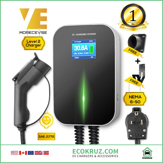 Fiat 500e Type 1 Level 2 EV Charging Station 32A Charger 220v-240v  NEMA 24 Feet Cable Wallbox - EV Chargers and Accessories