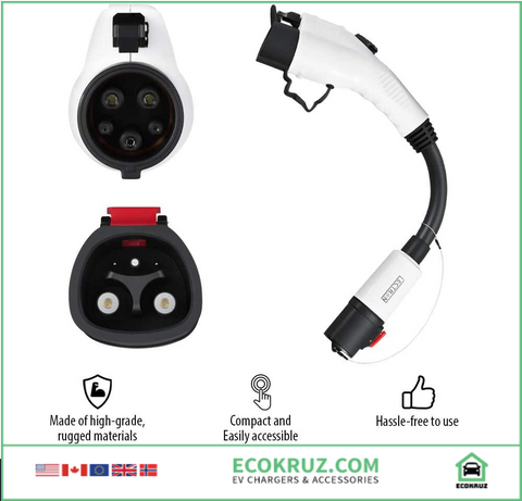 Tesla to J1772 Adapter, Max 40A & 250V - Compatible with Tesla High Powered Connector, Destination Charger, and Mobile Connector (White) - EV Chargers and Accessories