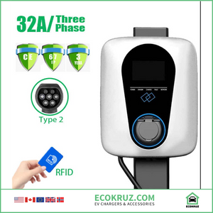 Commercial 32A 3Phase 22kw RFID Enabled EV Charging Station Type 2 / Tesla compatible