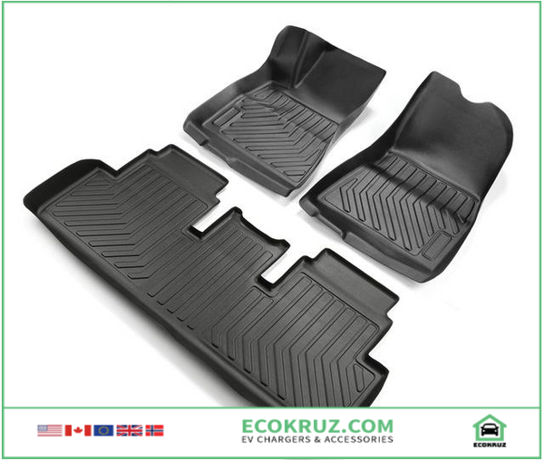 All Weather Custom Fit Floor Mats Front & Rear For Tesla Model 3 2017 2018 2019 2020 - EV Chargers and Accessories