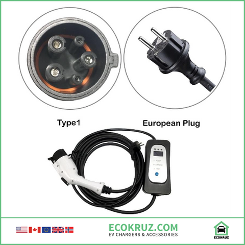 BMW i3 J1772 Type 1 Level 2 EV Charger Adjustable 16A 13A 10A 8A Schuko Euro Plug