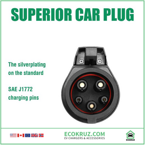 EV Charging Extension Cable Type 1 to Type 1 SAE J1772 32A 40Amp 20ft Electric Vehicle Cord - EV Chargers and Accessories