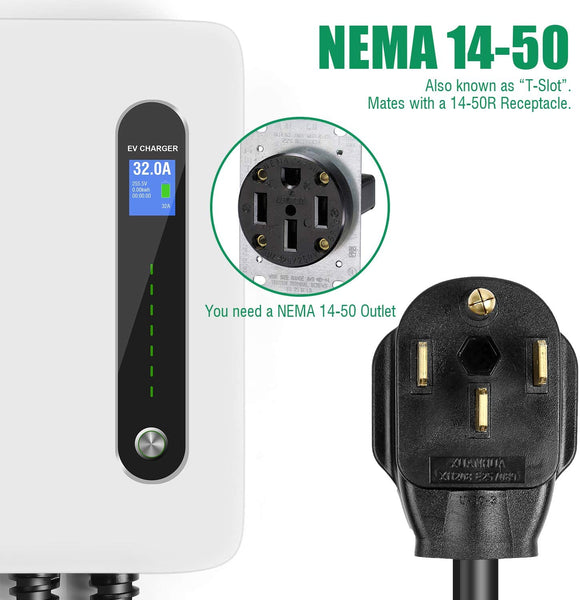 Type 1 Level 2 EV Charging Station Hyundai Kona Wall Mounted 32A 220-240V NEMA - EV Chargers and Accessories