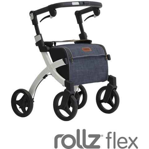 """Rollz Flex Small, White Frame, Denim Grey Bag, Classic Brake"""