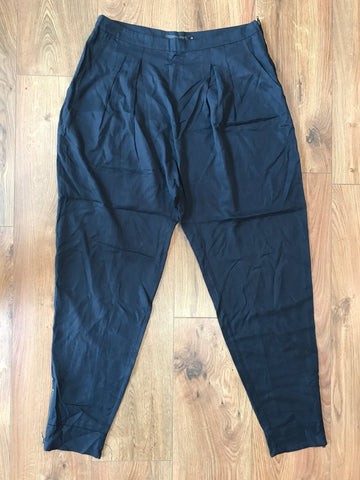 Coster Copenhagen Dark Blue, Baggy Pants, Pleated Front, Side Pockets, Ankle Zip Detail, Tencil