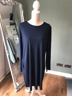 Coster Copenhagen Navy Blue, Dress, Long Sleeve, V Neck Dress, Polyester