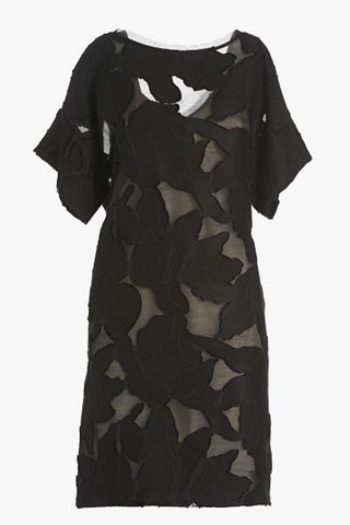 Ottod'Ame Gorgeous Black Layered Dress In Tulip Shape With Pockets And V Neck Back. Dry Clean Only.