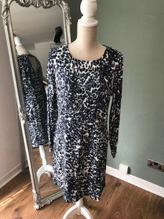 Culture Blue Animal Print Dress, Keyhole Back, Beaded Detail On Shoulders, Long Sleeve, Viscose, Polyester
