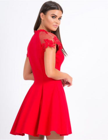Forever Unique - Red Fit and Flare Dress