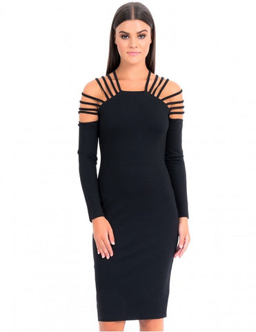 Forever Unique - Lillian black cut out shoulder bodycon dress