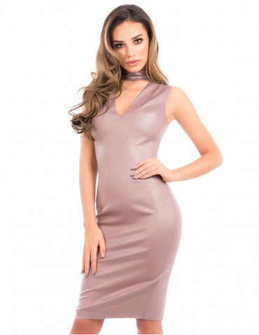 Forever Unique - Izzy Nude wet look bodycon dress