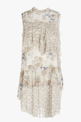Ottod'Ame Pretty Summer Frilledand Floral Sleeveless Dress.