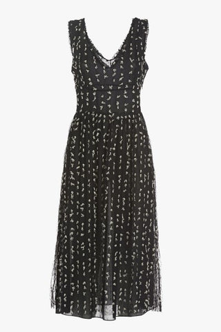 Ottod'Ame Lovely Black Lace, Sleeveless And Layered Long Dress