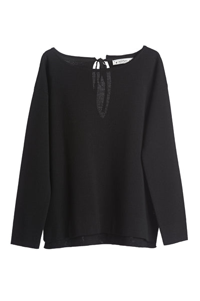 Ottod'Ame Woven Knit Black Jumper, Back Bow Fastening, Short Length, Long Sleeve, Lanana Wool & Acrylic