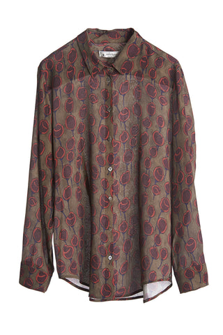 Ottod'Ame Moro Vintage Abstract Rose Shirt, Silk,Viscose, Long Sleeve, Button Front
