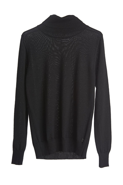 Ottod'Ame Classic Black, Ribbed Polo Neck, Long Sleeve, Lana Merino Wool 50% And Acrylic