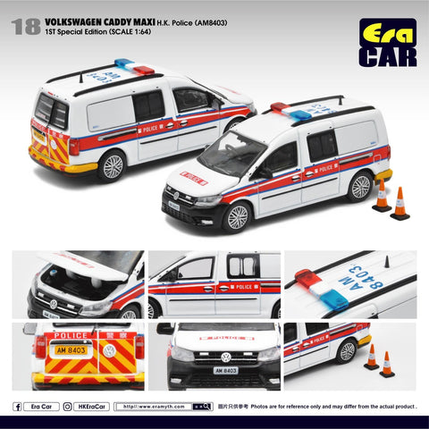 1/64 Era Car 18 Volkswagen Caddy Maxi HK Police (AM8403) (1st Special Edition)