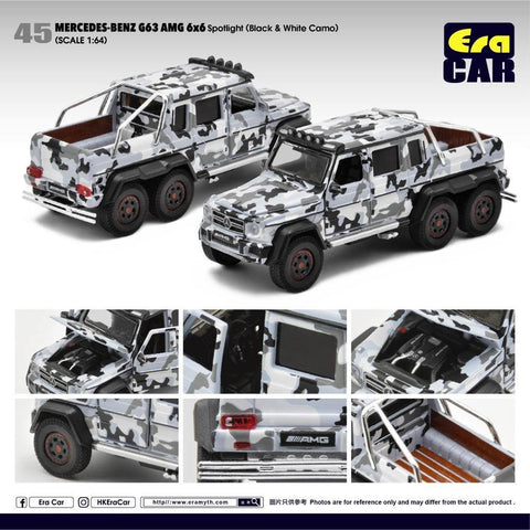 (Pre-Order) 1/64 Era Car 45 Mercedes-Benz G63 AMG 6X6 Spotlight Black & White Camo