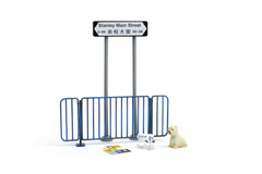 1/18 Tiny - Road sign, blue balustrade & white puppy package I (Stanley Main Street)