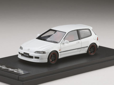 1/43 MARK 43 - Honda Civic (EG6) Customized Version with 無限 RNR Wheel Frost White (PM4365CW)
