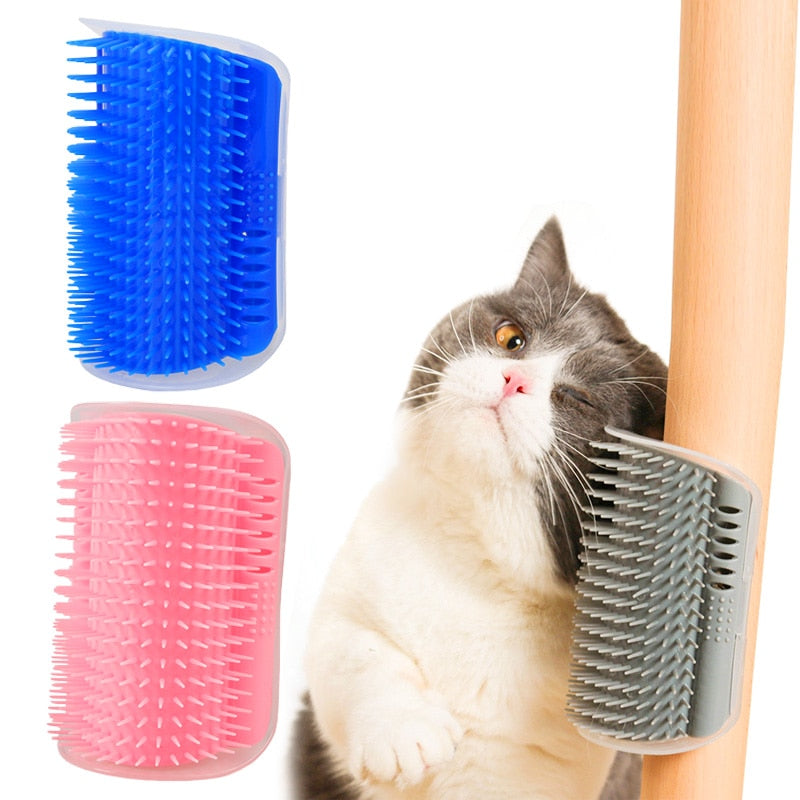 Corner Mounted  Brush for Self Grooming Cats