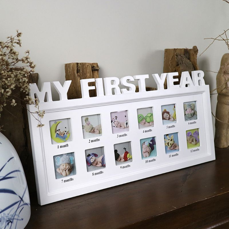 "0-12 Month Baby ""MY FIRST YEAR"" Picture Souvenirs Gift Plastic Display Photo Frame"