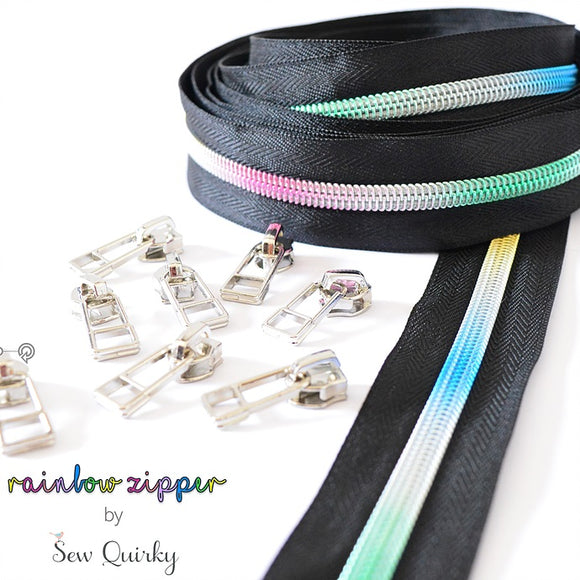 Black Zipper with Rainbow Teeth by Sew Quirky