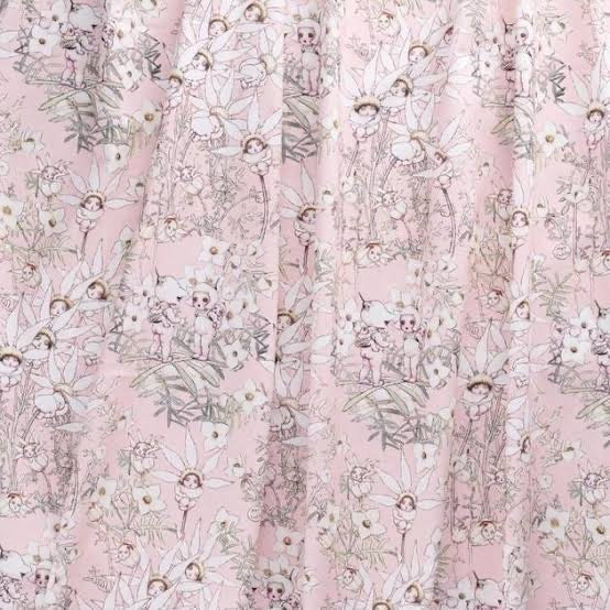 May Gibbs Flannel Flower Babies - Pink on Mid-Weight Cotton