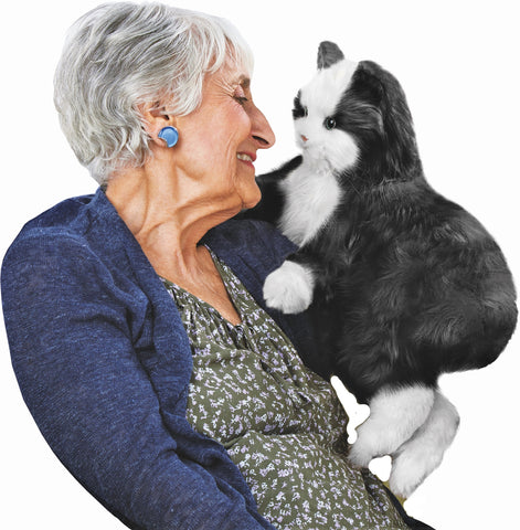 NEW Joy For All- Robotic Black & White Tuxedo Cat Companion Pet for People with Alzheimer's and Caregivers