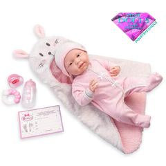 "Baby ""Michelle"" Bunny Bunting Gift Set - Doll Therapy for People with Alzheimer's and Caregivers"