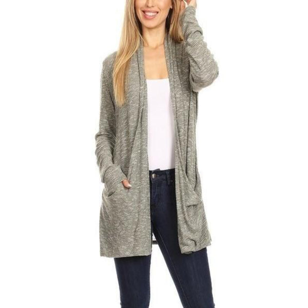 Sweater Knit Cardigan with Pockets in Olive and Gray