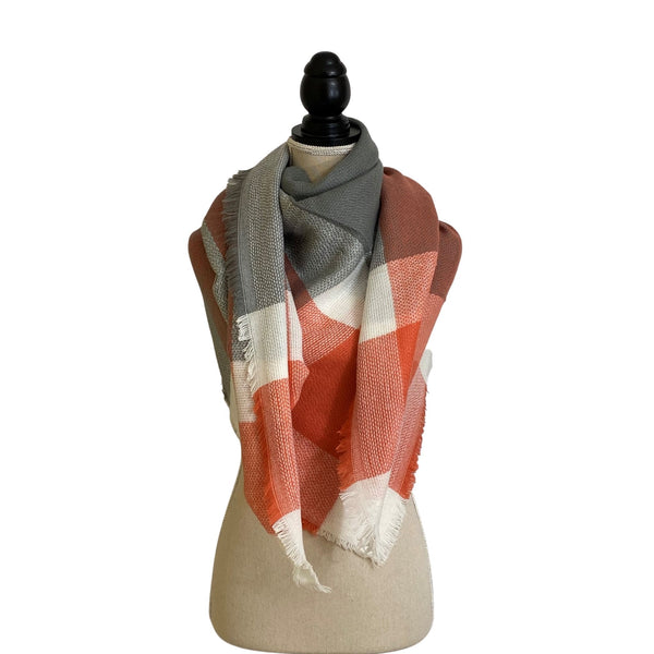 Coral and Grey Blanket Scarf