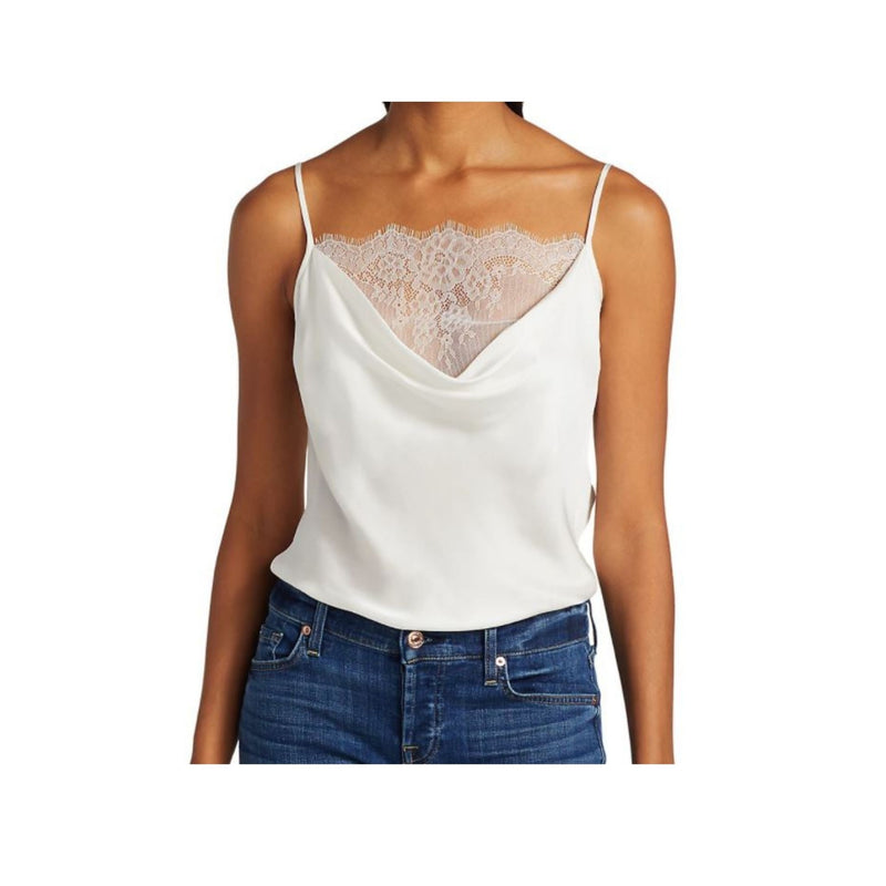 Lace Cowl Cami In White by 7 For All Mankind