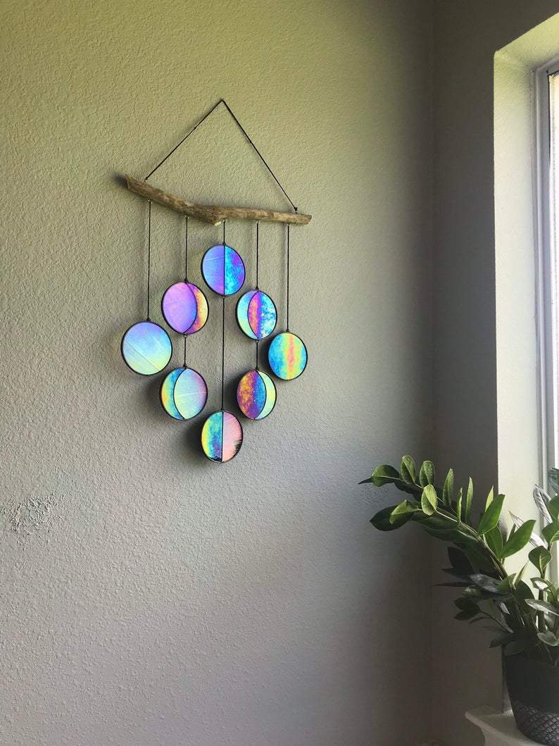 Clear and Rainbow Iridized Moon Phase Hanging -Celestial Art - Moon Phase Wall Decor - Stained Glass Moon Phase - Little froging
