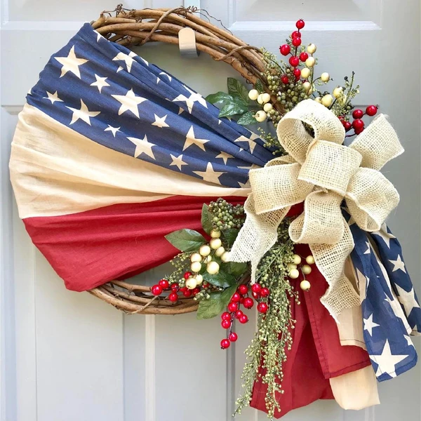 [🔥On Sale-44%OFF🔥]Patriotic Floral Grapevine Wreath - Little froging