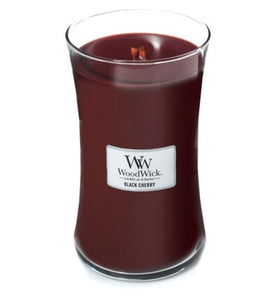 large red black cherry woodwick candle