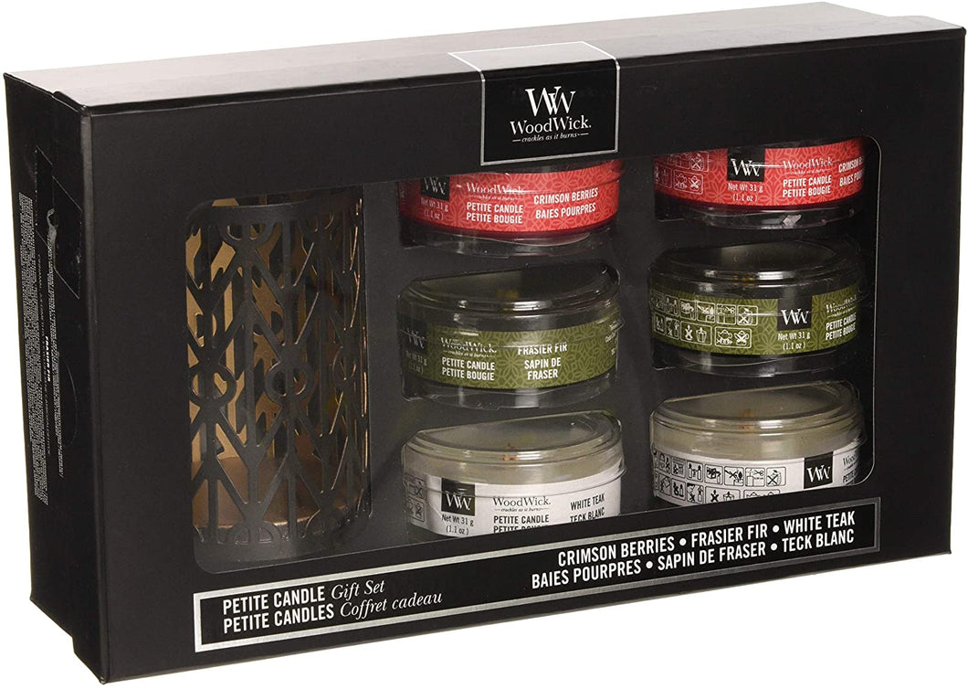 Deluxe Christmas Petite Candle and Holder Gift Set Woodwick - lovearomameadowhall