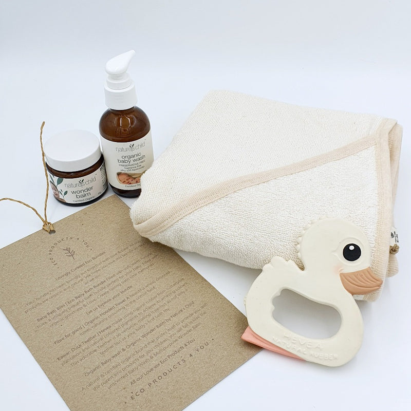 Baby Bath Bliss Baby Eco bundle - Fibre for Good Organic Hooded Towel, Nature's Child Organic Baby Wash and Wonder balm, Hevea Planet natural rubber Kawan Duck Teether ( Painted uses natural pigments) @ Eco products 4 you