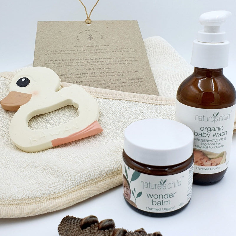 Baby Bath Bliss | Eco Bath Bundle by Eco Products 4 You is a beautiful bundle for any baby, New Parent. Filled with Organic goods.