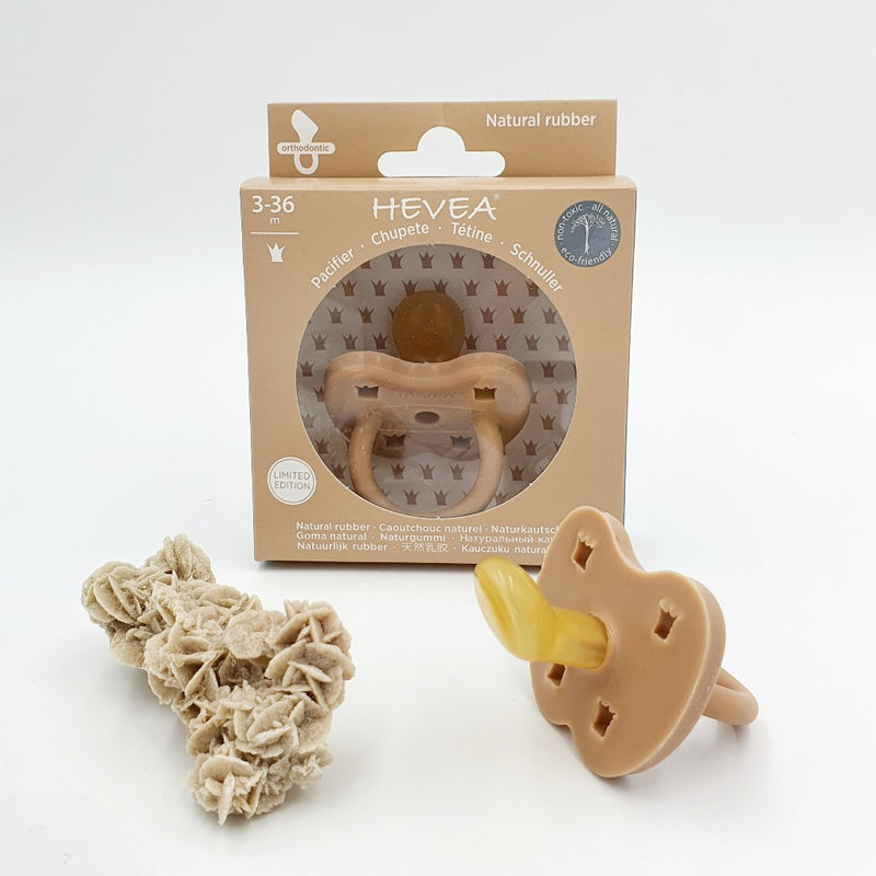 Natural Rubber Pacifier in Fudge | HEVEA $19.95  Made using natural rubber from sustainable plantations of rubber trees. I have given this beautiful fudge coloured Pacifier to name Sand Shores as it reminds me of sand on a warm summer day.