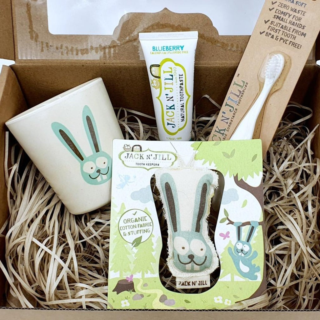Bunny Tooth Gift Pack | Jack n Jill This gift pack is perfect for little ones starting to grow their teeth or really any child. My son only uses Jack n Jill and he is 6. Providing a natural way to care for baby's teeth, this delightful set includes a Bio toothbrush, rinse cup, tooth keeper, and toothpaste made from natural ingredients and biodegradable materials. Naturally BPA and PVC free