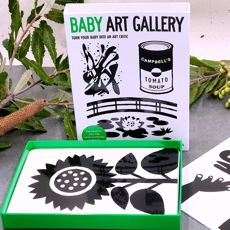 Baby Art Gallery | Turn Your Baby into an Art Critic  Flashcards It's never too early to look and learn together! As soon as they are born, babies are learning to focus on high-contrast images. Stimulate and entertain your little genius with these striking black-and-white art cards, inspired by the world's greatest artists. For the cot, changing mat and on the move… Your little one will be entranced by their first art experience.