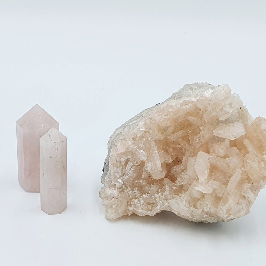 Rose quartz is the stone of unconditional love and infinite peace. It is a profound amplifier of energy and it emits a strong, soothing vibration of love, peace, joy, warmth, and healing. Its energy may bring faith and hope and it is well known for stimulating happiness, romance, and sensuality. It may assist in dissolving anger and resentment bringing deep inner healing and self-love.