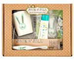 Bunny Bio Toothbrush: This toothbrush is biodegradable and made from cornstarch.  Bunny Rinse cup (9 x 8 cm ): Cup made from bamboo and rice husks; also dishwasher safe Blueberry Natural Toothpaste 50 g: Natural, hypoallergenic toothpaste with certified organic ingredients. Tooth Keeper: Made from 100 % organic cotton fabric and stuffing. Recommended for ages 3 and up