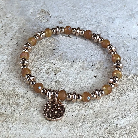 Miracles by Annelien Coorevits - Armband BEAD Gold & Peach (Small)