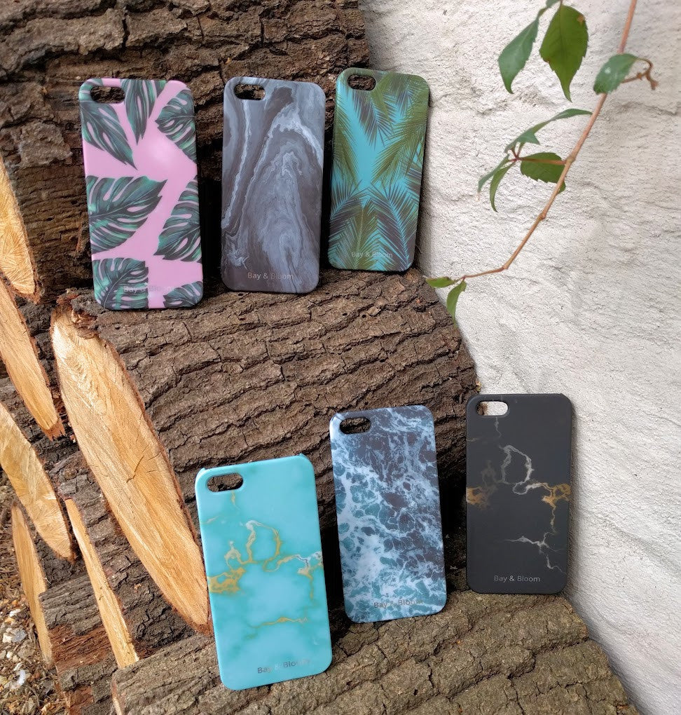 Bay & Bloom iPhone cover - Blue Leaves (iPhone 5 & 6) - Luxedy - 3