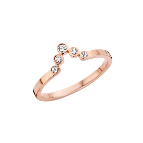 Melano - Ring Friends Pointed Crystal Rosé Goud - Luxedy