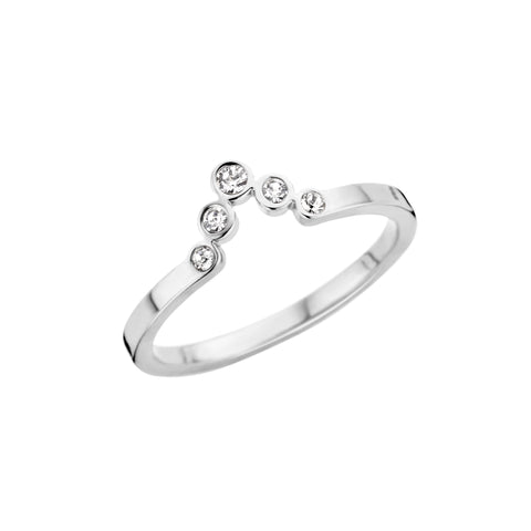 Melano - Ring Friends Pointed Crystal Zilver - Luxedy