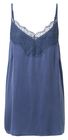 YAYA - Top Mix Fabric Singlet Washed Indigo Blue