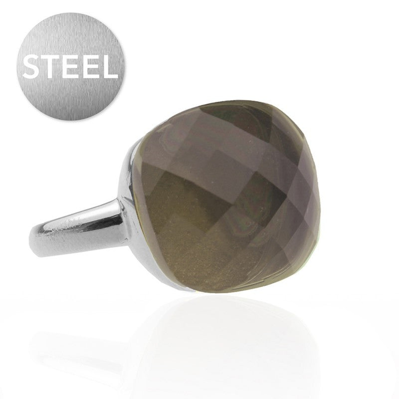My Jewellery - Zilveren ring Square Gem Taupe - Luxedy - 1
